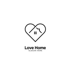 Love home logo outline monoline vector
