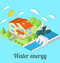 Low-energy house with Hydro power plant For web vector image
