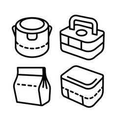 Lunchbox outline icon set 2 vector