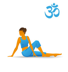 Marichyasana or spine twisting yoga pose vector