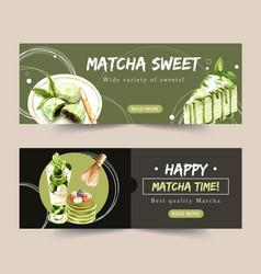 Matcha sweet banner design with crepe cake mochi vector