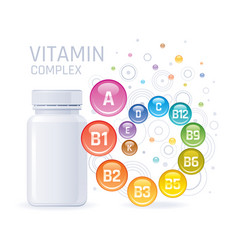 Multi vitamin complex supplement 3d mockup with vector