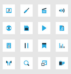 music colorful icons set collection of equalizer vector image