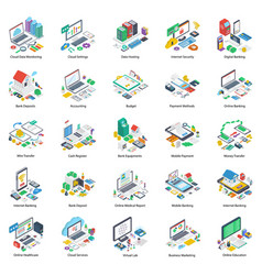 Online business isometric pack vector