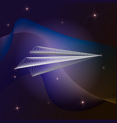origami paper plane from line line x-ray effect vector image