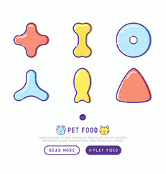 Pet food thin line icons set vector