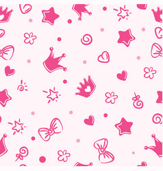 princess pattern background for girls crown vector image