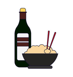 Rice bowl and drink bottle vector