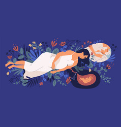 Sad young pregnant woman lying on blooming flowers vector