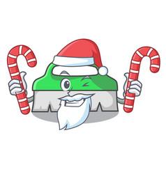 santa with candy scrub brush mascot cartoon vector image