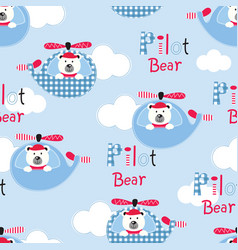 Seamless pattern with pilot bears vector
