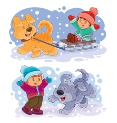Set clip art small children play with vector