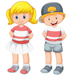 set cute boy and girl vector image