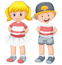 Set cute boy and girl vector