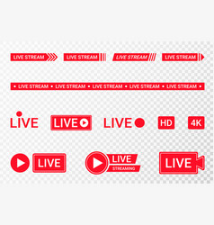 set live streaming icons red symbols and vector image