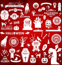 Set of Happy Halloween white silhouettes on red vector