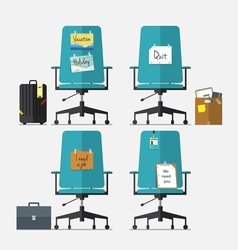 set office chair in flat design vector image