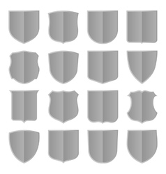 Silver shields set vector