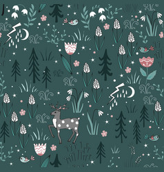 spring forest seamless pattern with deer birds vector image