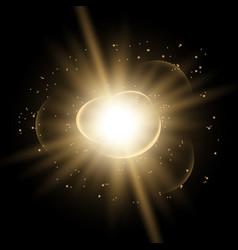 Star burst with sparks golden color vector