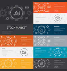 Stock market infographic 10 line icons banners vector