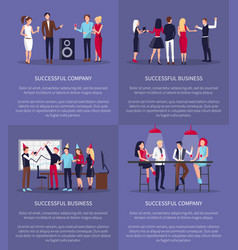 Successful business and company set posters vector