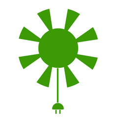 Sun icon with current cable vector