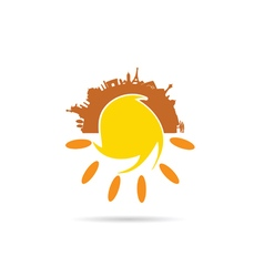 sun with famous monument vector image