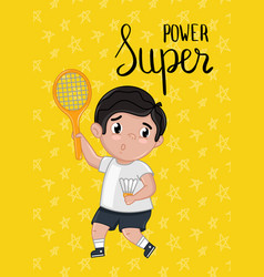 Super power kids postcard template vector
