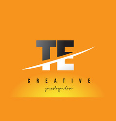 Te t e letter modern logo design with yellow vector