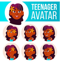 teen girl avatar set indian hindu asian vector image