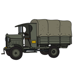 The vintage military truck vector
