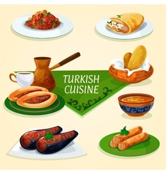 Turkish cuisine dinner with dessert coffee icon vector image