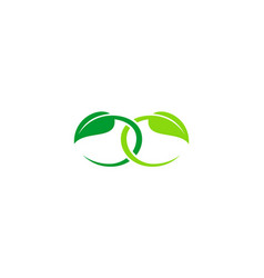 two green leaf connect logo vector image