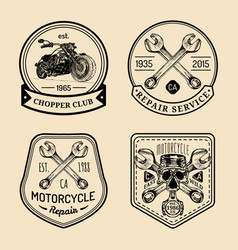 vintage biker club signs motorcycle repair vector image