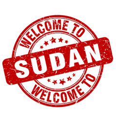 Welcome to sudan red round vintage stamp vector
