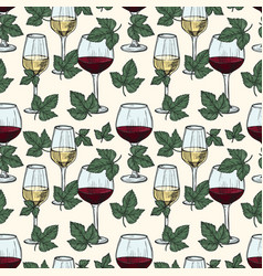 white and red wine grape vine leaves vector image