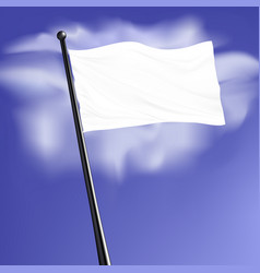White blank flag with steel pole isolated on vector