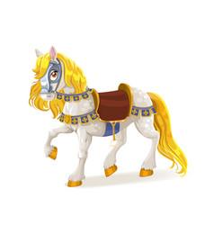 White magic horse saddled for brave deeds vector