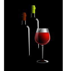 wine bottles and glass vector image