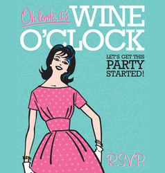 Wine oclock retro party invitation vector