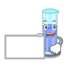 With board graduated cylinder with on mascot vector