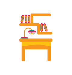 Workplace in office cabinet with workspace vector