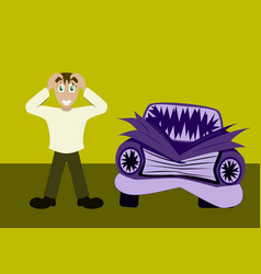 Worried driver with his breakdown car flat vector