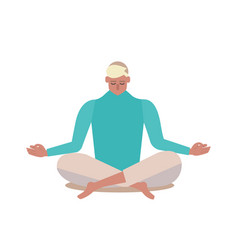 Yoga person sitting in a lotus pose vector