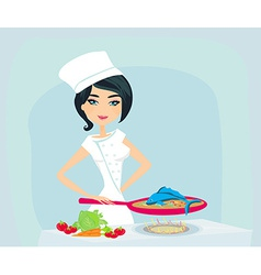 young girl cooking a fish in a frying pan vector image