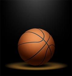Basketball under spotlight vector image vector image
