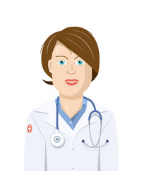 doctor woman flat design isolated cartoon vector image vector image