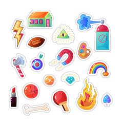 Sarcastic modern colorful sticker set fashion vector