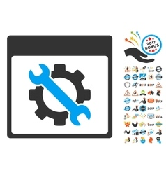 Settings Tools Calendar Page Flat Icon With vector image vector image